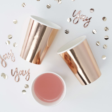Slika Ginger Ray® Papirnati kozarčki Rose Gold 8 kosov