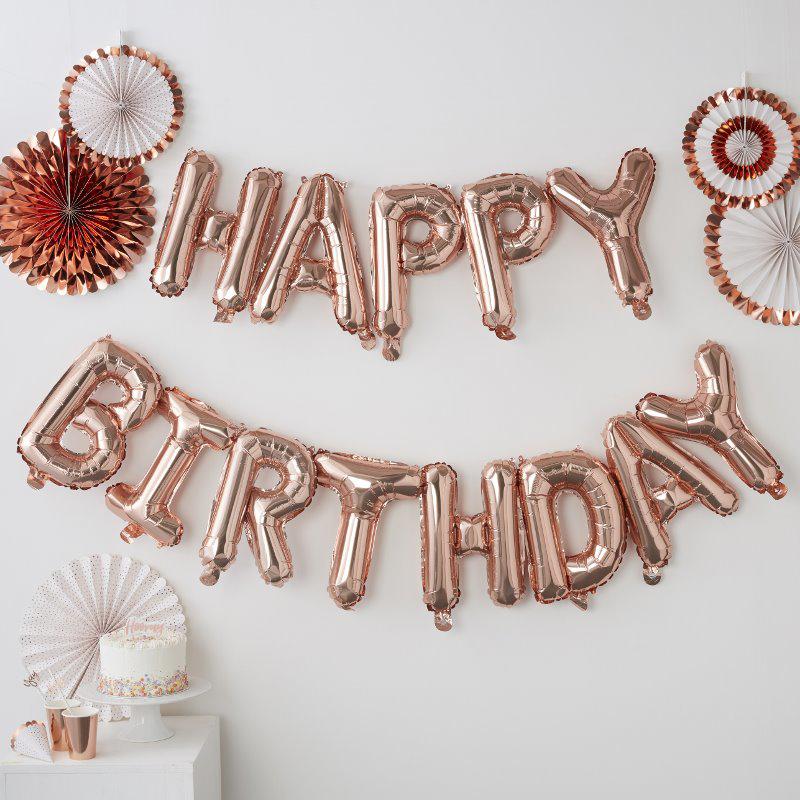 Ginger Ray® Viseči baloni Happy Birthday Rose Gold