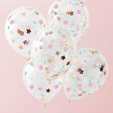 Slika Ginger Ray® Baloni s konfeti Ditsy Floral 5 kosov