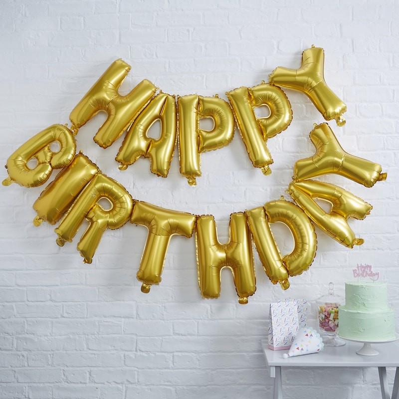 Ginger Ray® Baloni Happy Birthday Gold
