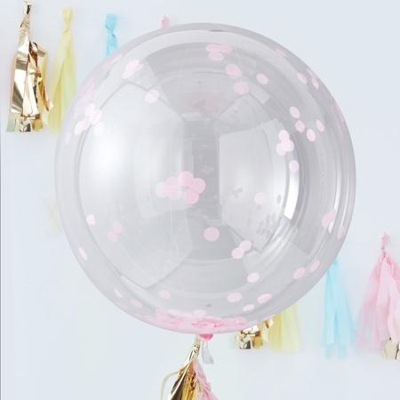 Slika Ginger Ray® Veliki baloni s konfeti Pink 3 kosi