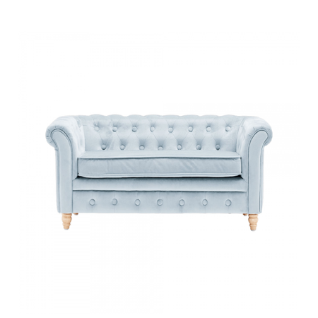 Kids Concept® Otroška zofa Chesterfield Velvet Light Blue
