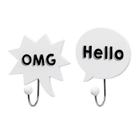Bloomingville® Dva bela obešalnika OMG, Hello