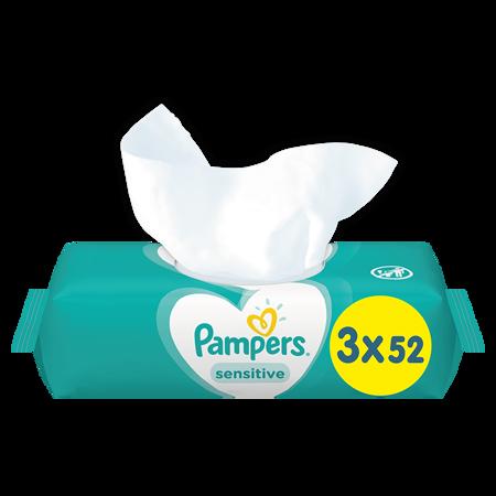 Pampers® Otroški čistilni robčki Sensitive 3x52 kosov