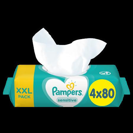 Pampers® Otroški čistilni robčki Sensitive 4x80 kosov