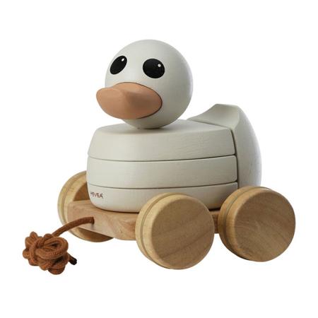Slika Hevea® Kawan lesena račka na vrvici s kolesi