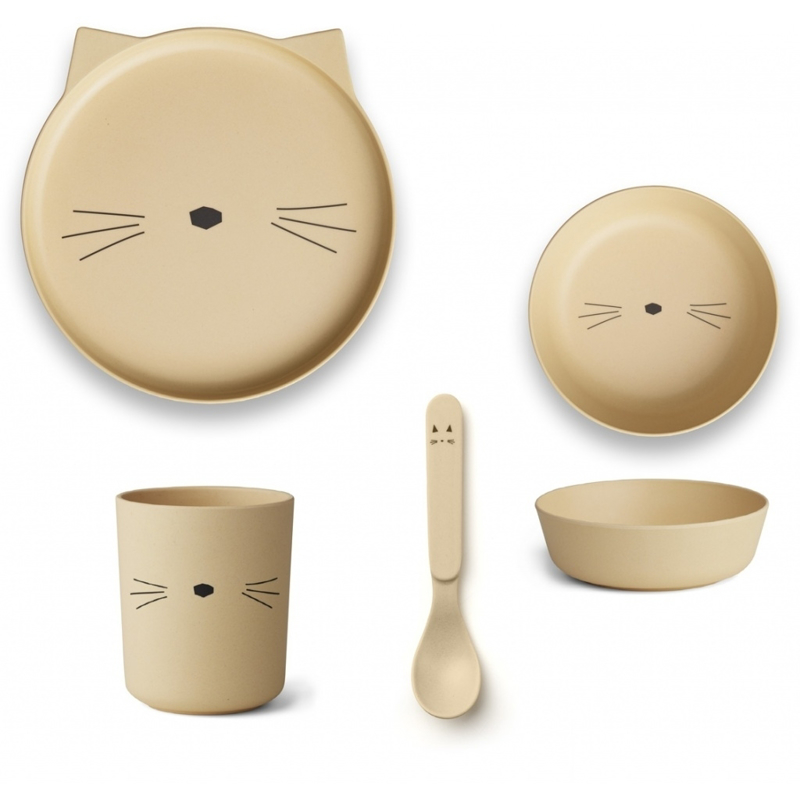 Liewood® Jedilni set iz bambusovih vlaken Cat Smoothie Yellow
