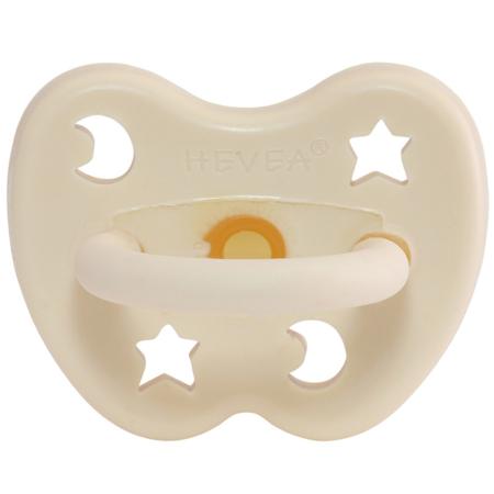 Hevea® Ortodontska duda iz kavčuka Milky White LUNA&ZVEZDICE