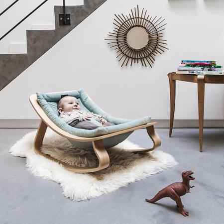 Charlie Crane® Ležalnik in gugalnik za dojenčka LEVO Hetre Blue
