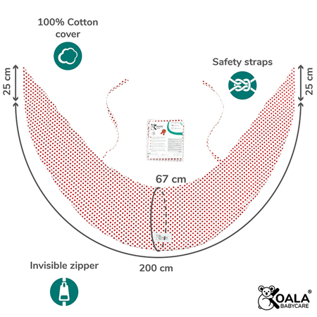 Koala Babycare® Prevleka za blazino za nosečnice Hug Comfy Red