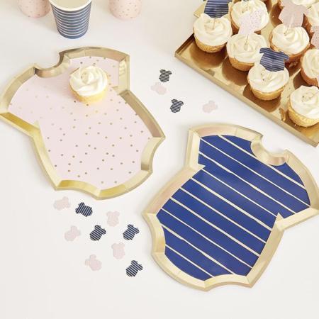 Slika Ginger Ray® Papirnati krožniki Pink/Navy 8 kosov