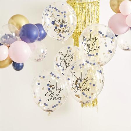 Slika Ginger Ray® Baloni s konfeti za Baby Shower Pink/Navy 5 kosov