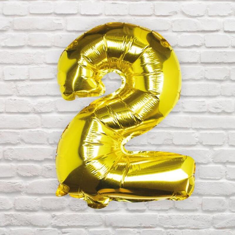 Ginger Ray® Balon Številka 2 Gold