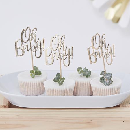 Ginger Ray® Okraski za slaščice Oh Baby! 12 kosov
