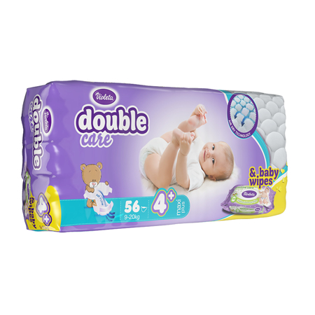 Slika Violeta® Plenice AirCare 4 Maxi plus (9-20kg) Jumbo 56+Darilo Baby vlažni robčki