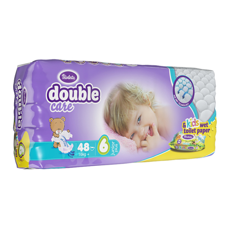 Slika Violeta® Plenice AirCare 6 Junior Plus (16kg+) Jumbo 48+Darilo Baby vlažni robčki