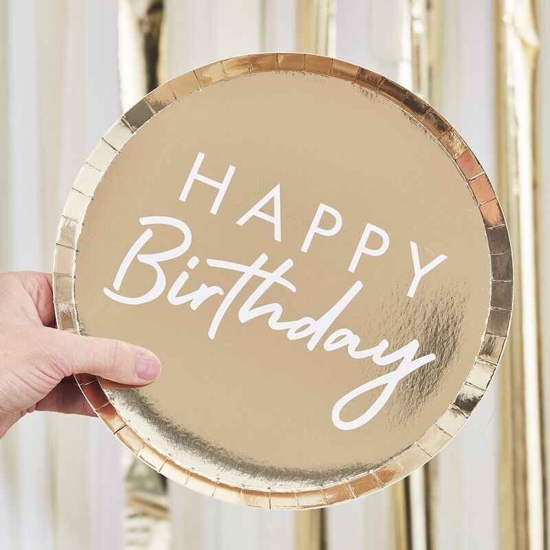 Ginger Ray® Papirnati krožniki Happy Birthday 8 kosov