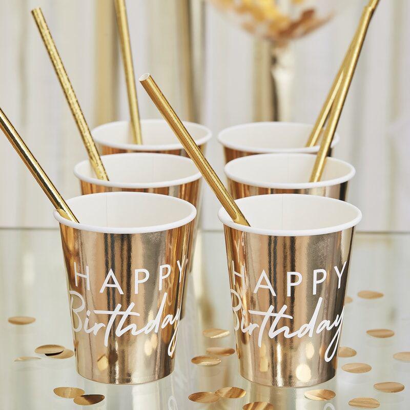 Ginger Ray® Papirnati kozarčki Happy Birthday Gold 8 kosov
