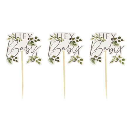 Slika Ginger Ray® Okraski za slaščice Hey Baby Botanical 12 kosov
