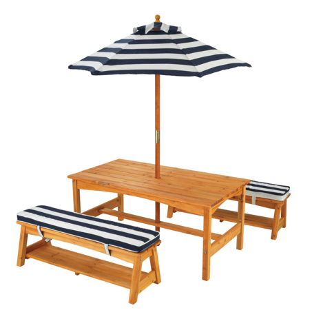 Slika KidKraft® Zunanja miza s stoli in dežnikom Blue/White