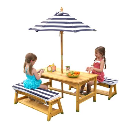 KidKraft® Zunanja miza s stoli in dežnikom Blue/White