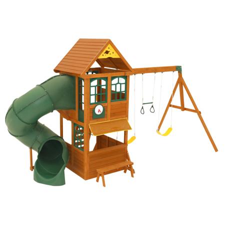 Slika KidKraft® Zunanja hiška s toboganom in gugalnicami Forest Ridge