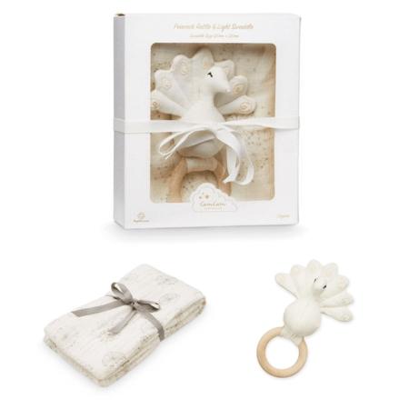 Slika CamCam® Darilni set Ropotuljica Pav in Tetra plenička Dandelion Natural