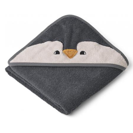 Slika Liewood® Brisača s kapuco Penguin Stone Grey 70x70