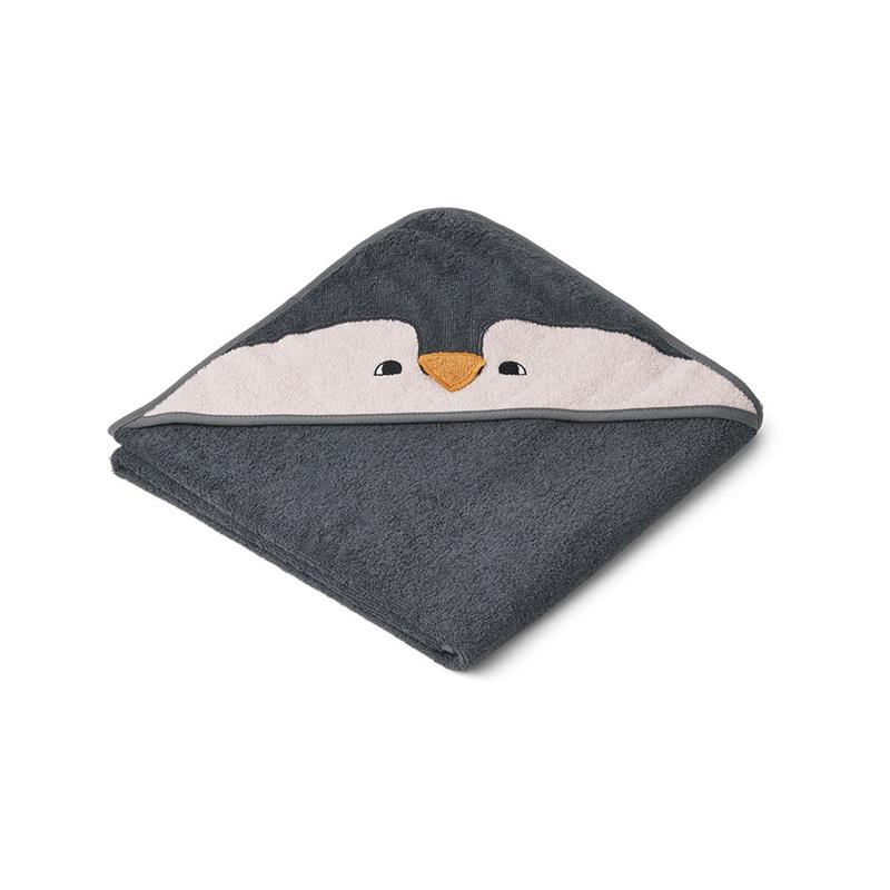 Liewood® Brisača s kapuco Penguin Stone Grey 100x100