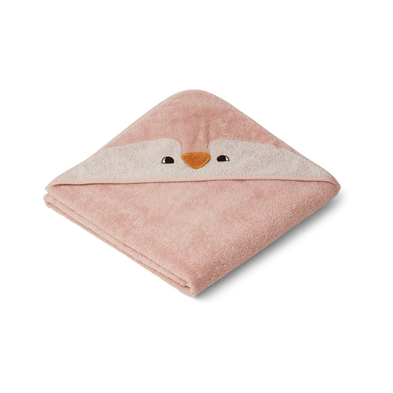 Liewood® Brisača s kapuco Penguin Rose 100x100