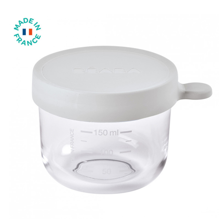 Beaba® Steklena posodica za shranjevanje 150ml Grey
