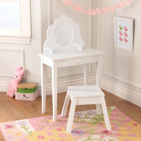 KidKraft® Otroška Make-Up mizica z ogledalom in stolček White