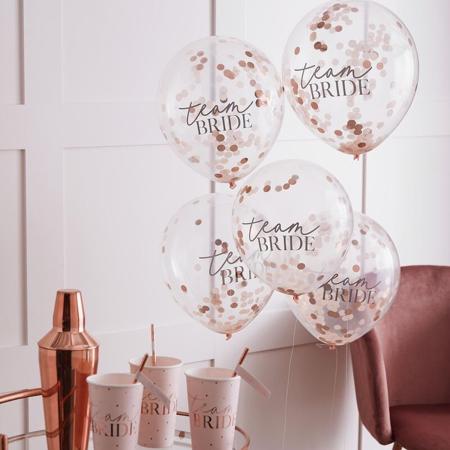 Slika Ginger Ray® Baloni s konfeti Team Bride 5 kosov