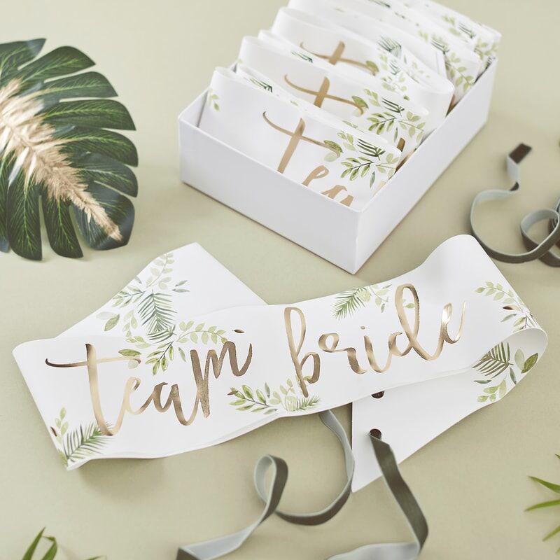 Ginger Ray®  Pasovi za dekliščino Team Bride Botanical 6 kosov