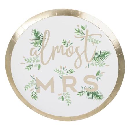 Slika Ginger Ray® Papirnati krožniki Almost Mrs 8 kosov