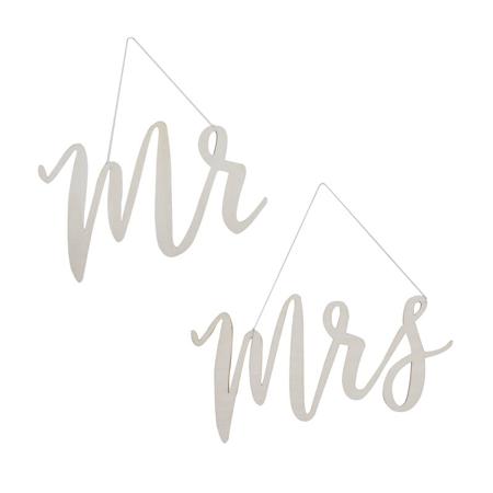 Slika Ginger Ray® Lesena dekoracija za na stol Mr & Mrs