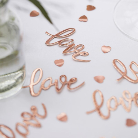 Slika Ginger Ray® Namizni okrasni konfeti Rose Gold Love Hearts