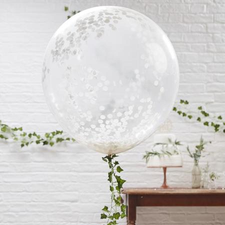 Slika Ginger Ray® Veliki baloni s konfeti White 3 kos
