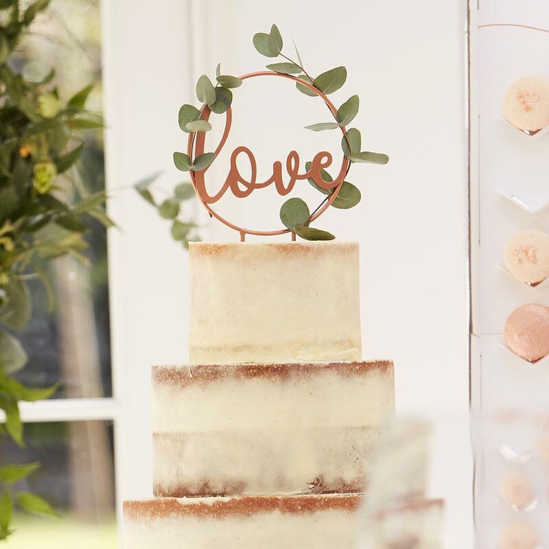 Ginger Ray® Okrasek za torto Love Rose Gold