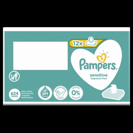 Pampers® Otroški čistilni robčki Sensitive 12x52 kosov