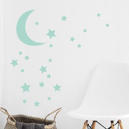 Pick Art Design® Stenske nalepke Luna z zvezdicami Mint