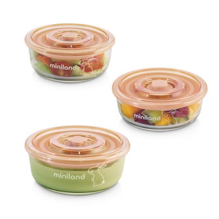 Slika Miniland® Set 3 okroglih steklenih posodic 300ml Bunny