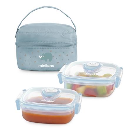 Slika Miniland® Set dveh posodic s termo torbo 330ml Azure