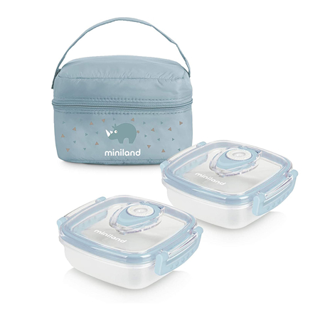 Miniland® Set dveh posodic s termo torbo 330ml Azure