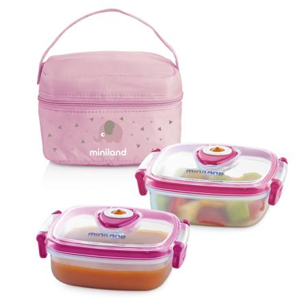 Slika Miniland® Set dveh posodic s termo torbo 330ml Rosa