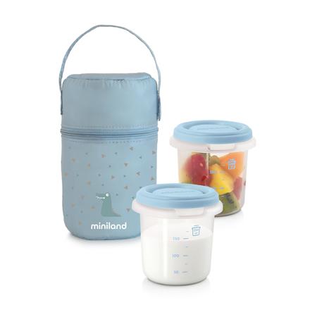 Slika Miniland® Set dveh posodic s termo torbo 250ml Azure