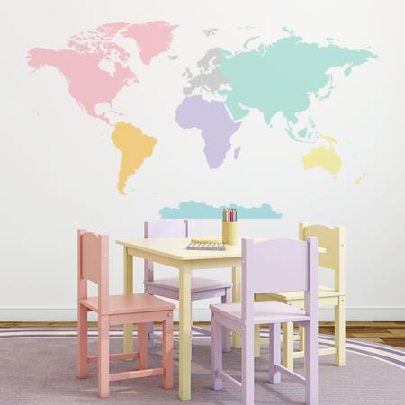 Yokodesign® Stenska nalepka Zemljevid sveta Pastel 150x84