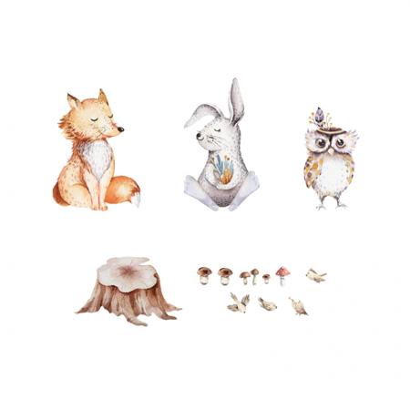 Slika Yokodesign® Stenska nalepka Breze & Gozdni prijatelji