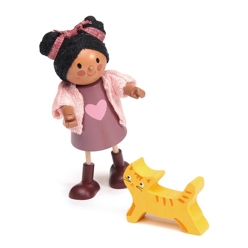 Tender Leaf Toys® Lutka Ayana z mačkom Ayana and her Cat