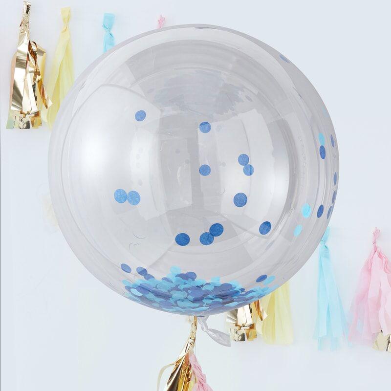 Ginger Ray® Veliki baloni s konfeti Blue 3 kosi